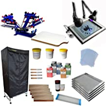 4 Color 1 Station Screen Printing Press Kit full set starter kit