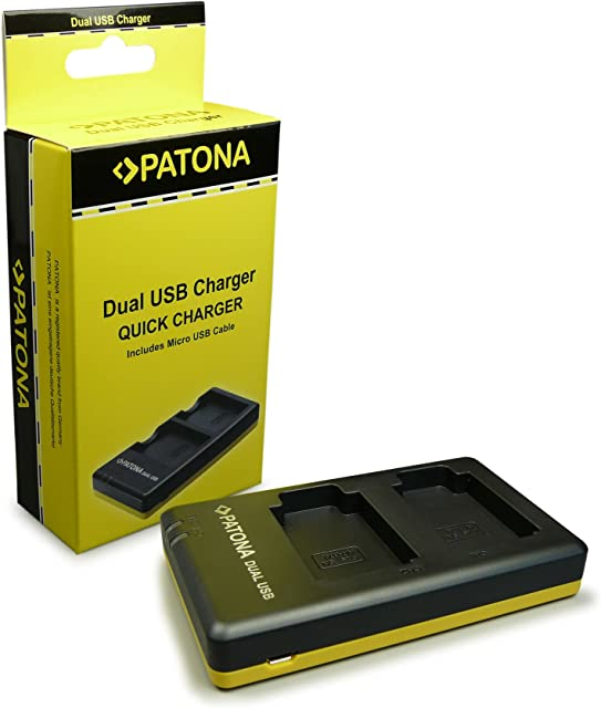 PATONA Cargador Doble para NP-BX1 Bateria Compatible con Sony Cyber-Shot DSC-RX1 DSC-RX100 II III IV DSC-X400 DSC-WX500