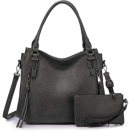 Realer Damen Handtaschen Groß Shopper Lederhandtasche Schultertasche Umhängetasche Geldbörse Hobo Damen Taschen Set 2pcs Dunkelgrau