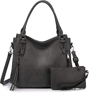 Realer Damen Handtaschen Groß Shopper Lederhandtasche Schultertasche Umhängetasche Geldbörse Hobo Damen Taschen Set 2pcs D...