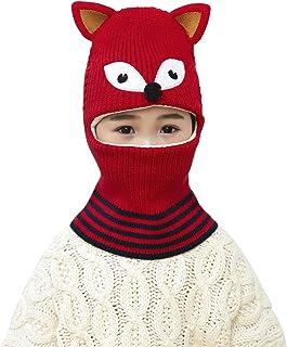 Kids 3D Fox Knit Balaclava Winter Warm Fleece Liner Full Hood Hat for 2-5 Yrs