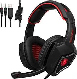 Sades Spirit Wolf 3.5mm Wired Computer Gaming Headset with Microphone,Deep Bass Over-the-Ear Noise Isolating, Volume Control, LED Lights For PC Gamers (Black Red)