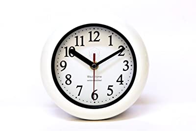 """Perfect White Shell Water Resistant Clock, Quartz Movement, Simple Design, 6.5"""" in Diameter, ABS Glass Front, Flexible Options to Hang or to Stand. Withstand Water Vapor and Moisture."""