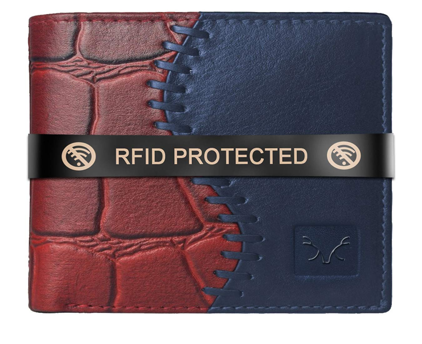 AL FASCINO Stylish RFID Protected Genuine Leather Wallet Mens, Maroon and Blue