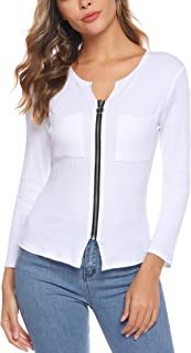 comprar comparacion iClosam Camisetas Mujer Manga Large Cremallera Cuello V Casual Tops Blusa Color SóLido