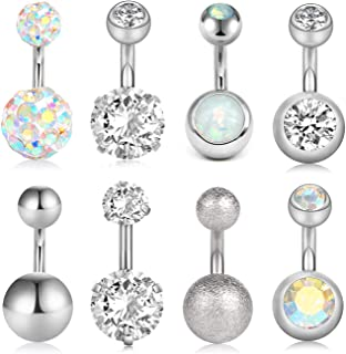 VCMART 8Pcs Short Belly Button Rings 14G Stainless Steel for Women Girls Navel Belly Rings Crystal CZ Barbell Body Piercing 6mm 10mm Bar
