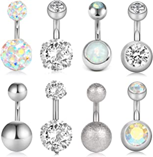 VCMART 8Pcs Short Belly Button Rings 14G Stainless Steel for Women Girls Navel Belly Rings Crystal CZ Barbell Body Piercing 6mm 10mm Bar