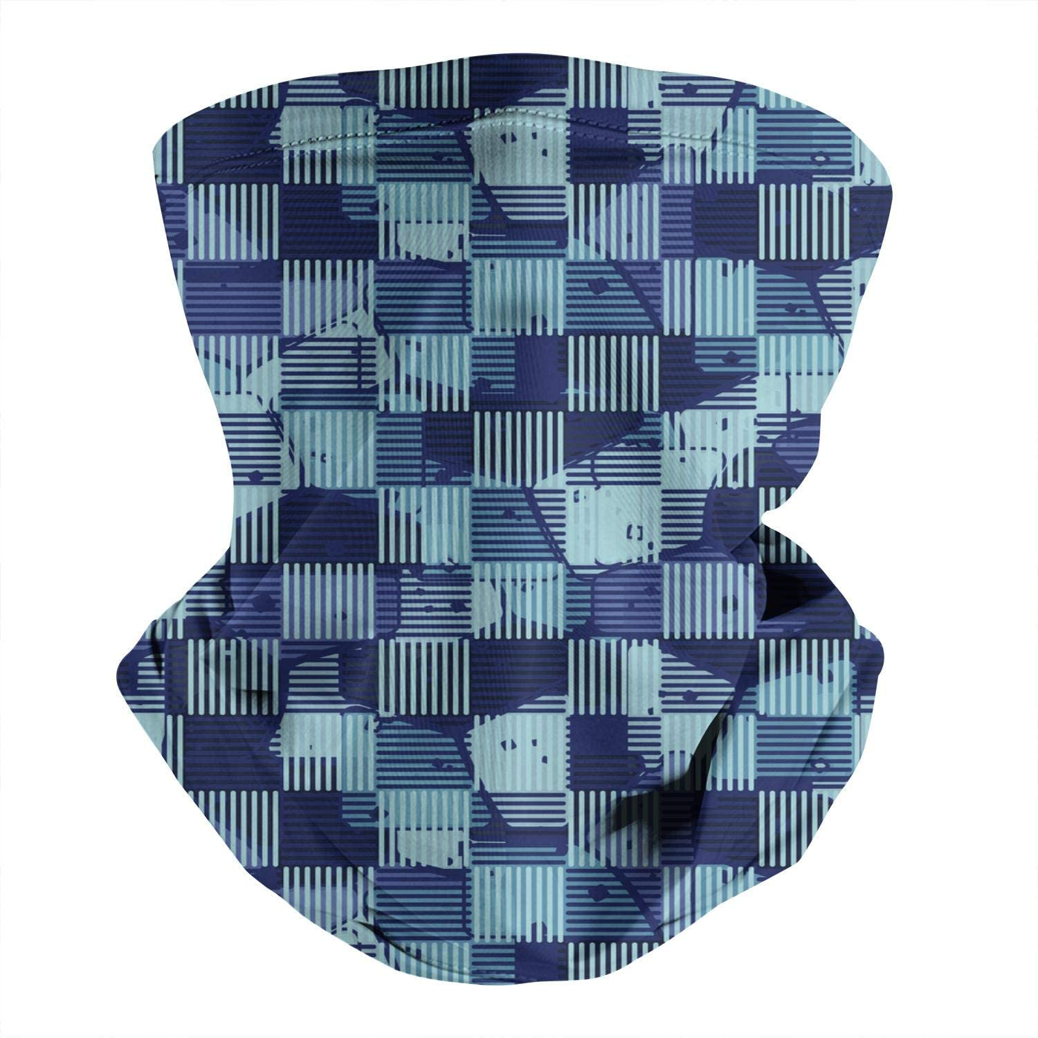 Men's Womens Multifunctional Neck Gaiters Bandanas Abstract-multicolored-camouflage-checkerboard- Vintage Face Mask