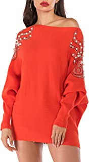 Women's Oversized Sexy Batwing Sleeve Off Shoulder Pearl Embellished Chunky Rib Knitwear Pullover Sweater