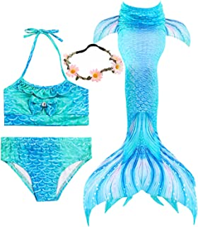 3 Pcs Girls Swimsuit Mermaid Tails for Swimming Princess Mermaid Costume Bikini Set Can Add Monofin for 3-12Y