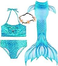 3 Pcs Girls Swimsuit Mermaid Tails for Swimming Princess Mermaid Costume Bikini Set Can Add Monofin for 3-12Y