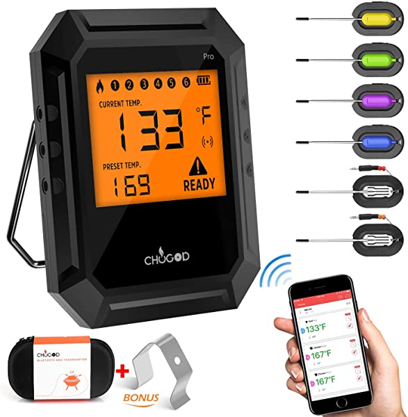 Nobebird Meat Thermometer Bluetooth BBQ Thermometer Smart Cooking Bluetooth Thermometer With 6 Probes For Smoker Grilling Oven Kitchen Support IOS Android FDA Approved Carrying Case Included