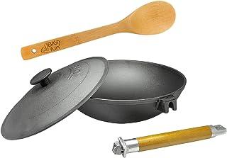 4BIG.fun Wok en fonte de 26 cm avec poignée amovible et couvercle et cuillère de cuisson.