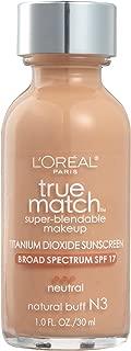 L'Oreal Paris Makeup True Match Super-Blendable Liquid Foundation, Natural Buff N3, 1 Fl Oz,1 Count