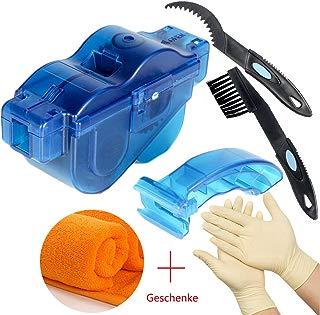 T-wilker Limpiador de Cadena de Bicicleta, combinación de cepillos de limpieza y guantes de látex y ToallasCadena de Bici Herramienta de Limpieza rápido Limpiador?azul transparente?