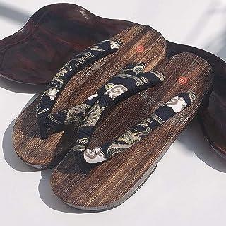 YYTIANYY Flip flop Japanese Cosplay Clogs Traditional PrintedAnime Temperament Antiskid Wooden Spring Summer Sandals-black...