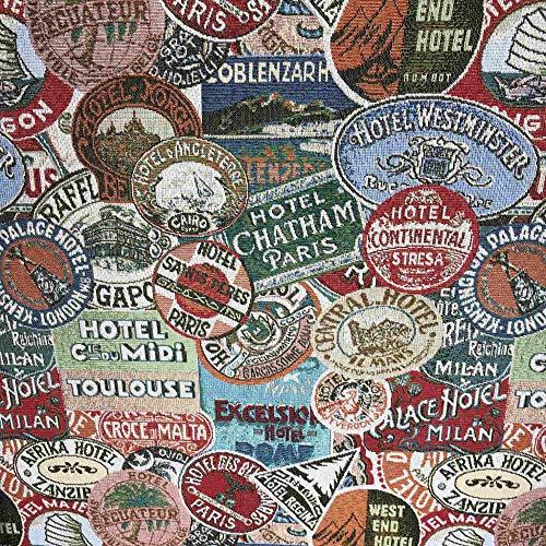 Kt KILOtela Tela de tapicería - Jacquard Gobelino - Retal de 100 cm Largo x 280 cm Ancho | Etiquetas de Hoteles - Verde, Azul, Rojo ─ 1 Metro