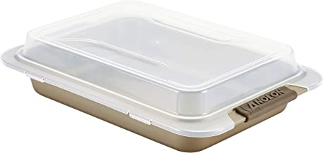 Anolon Advanced Bronze Nonstick Bakeware 9-Inch x 13-Inch Covered Cake Pan with Silicone Grips
