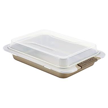 Anolon Bronze Nonstick Baking Pan With Lid / Nonstick Cake Pan With Lid, Rectangle - 9 Inch x 13 Inch, Brown
