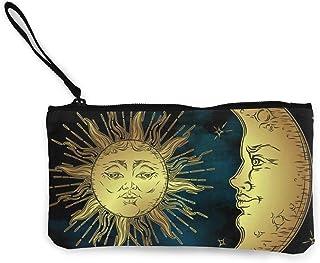 Yuanmeiju Monedero Unisex Sagrado Sol y Luna en Lona Antigua Monedero Tarjeta de Teléfono Móvil con Asa y Cremallera