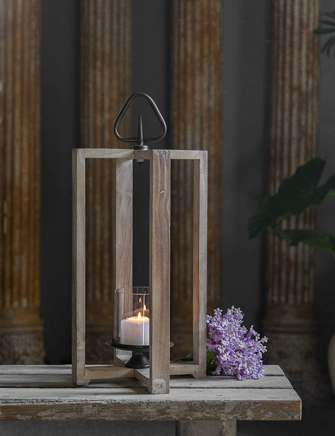 SOFE Wood free shipping Lantern Candle Holder Tall 70% OFF Outlet Hanging Rustic 25