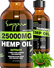 SUPPOU Hemp Oil for Anxiety Relief - 25000 MG - Premium Seed Grade - Natural Hemp Oil for Better Sleep, Mood & Stress - Improve Health - Vitamins & Fatty Acids