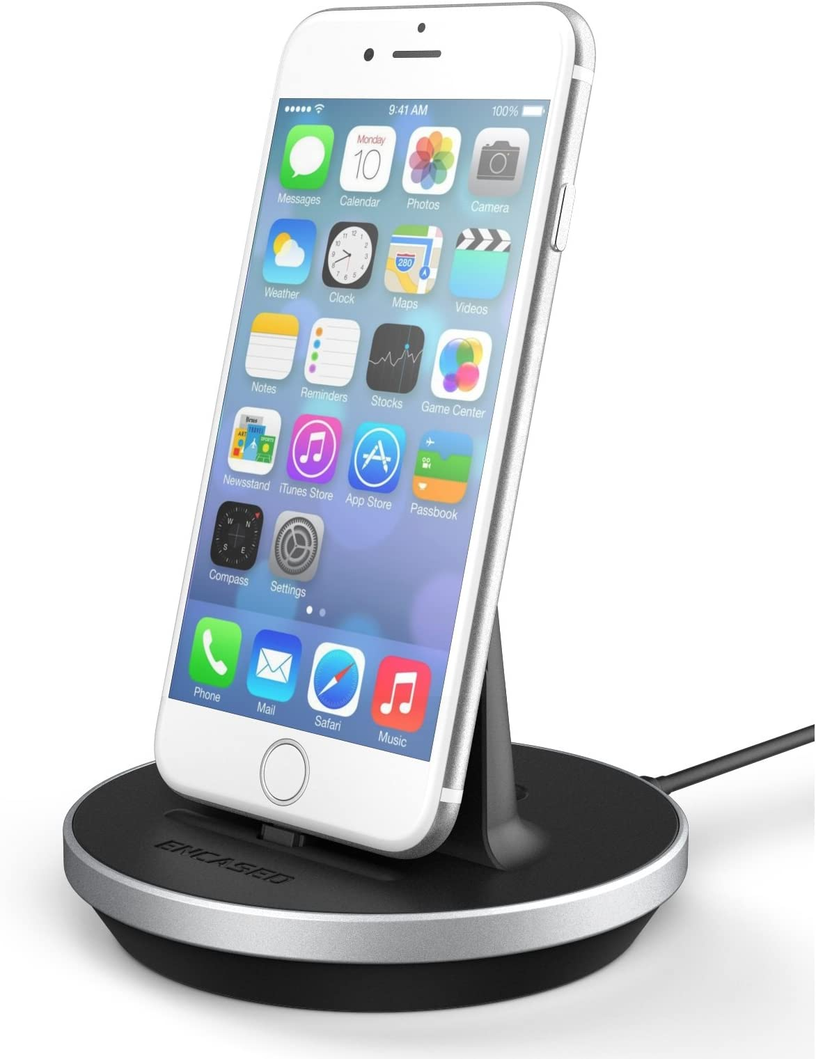 Encased Charging Dock for 2020 iPhone SE, 7/8/XR/XS Max (Apple MFi Certified) Lightning Charge-N-Sync Adjustable Tabletop/Desktop Charger Stand Plus Cable (Case Compatible)