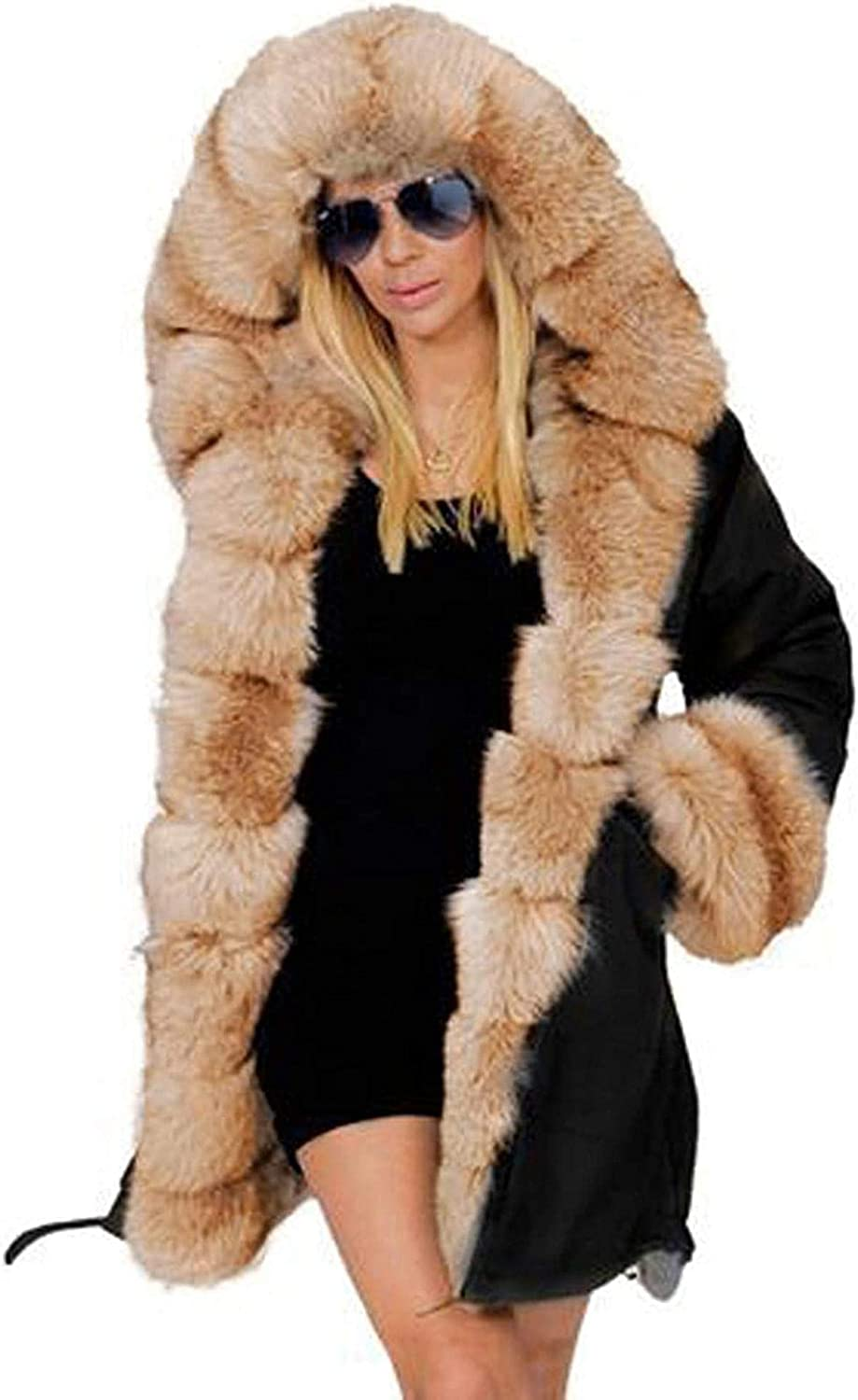 Coats for Women with Faux Fur Hood, Plus Size Fashion Casual Hoodie Jacket Winter Hooded Coat Overcoat