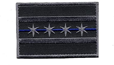 Chicago City Flag Subdued Thin blue line Police Hook Patch (3.0 X 2.0)