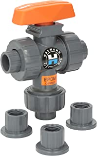 Hayward TW1050STE 1/2-Inch PVC TW Series 3-Way True Union Ball Valve with EPDM Seals and Socket/Threaded End Connection