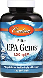Carlson - Elite EPA Gems, 1000 mg EPA Fish Oil, Wild-Caught, Norwegian Fish Oil, Sustainably Sourced, Helps Maintain Healthy Triglyceride Levels, 120 Softgels