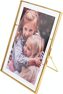 5x7 Vintage Style Antique Gold Picture Frames Gold Photo Frame with Pressed Glass, Brass (Vertical) (5 x 7)