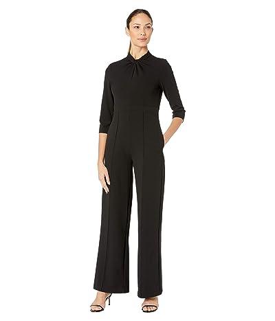 Donna Morgan 3/4 Sleeve Twisted Neckline Crepe Jumpsuit (Black) Women