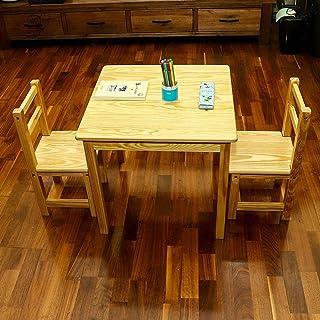 طقم طاولات خشبية للأطفال من ياتاي لطاولة الطعام وكراسي خشبية - 3 قطع - أثاث خشبي لمكتب أنشطة للأطفال