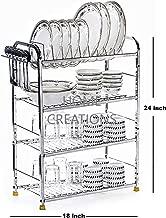 Home Creations 4 Layer 18 x 24 inch Kitchen Dish Rack/Kitchen Utensils Rack/Modern Kitchen Storage Rack/Kitchen Organizer/Utensils Rack with Plate & Cutlery Stand