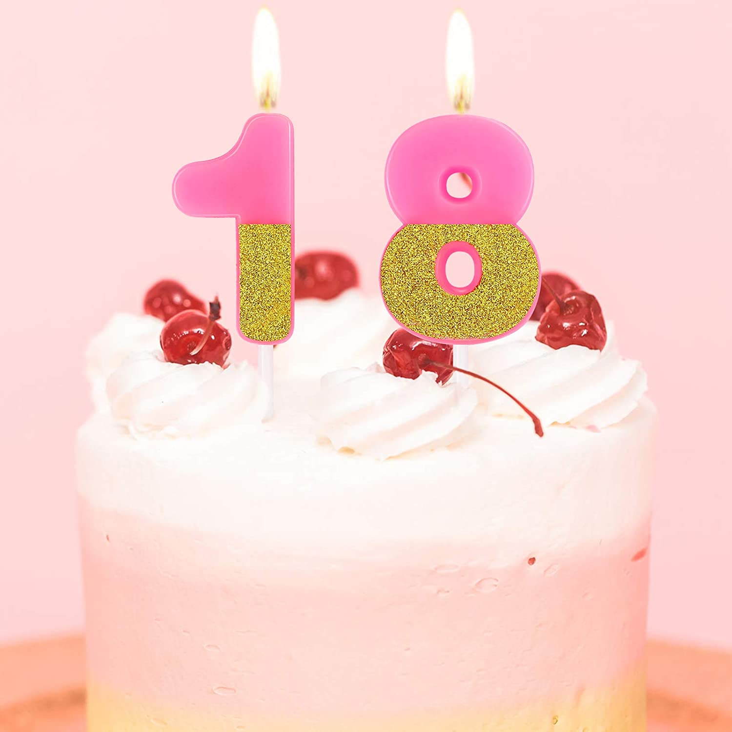 18th Birthday Cake Candles Glitter Numeral Candles Happy Birthday Cake Topper Decoration for Wedding Anniversary Celebration Supplies Blue