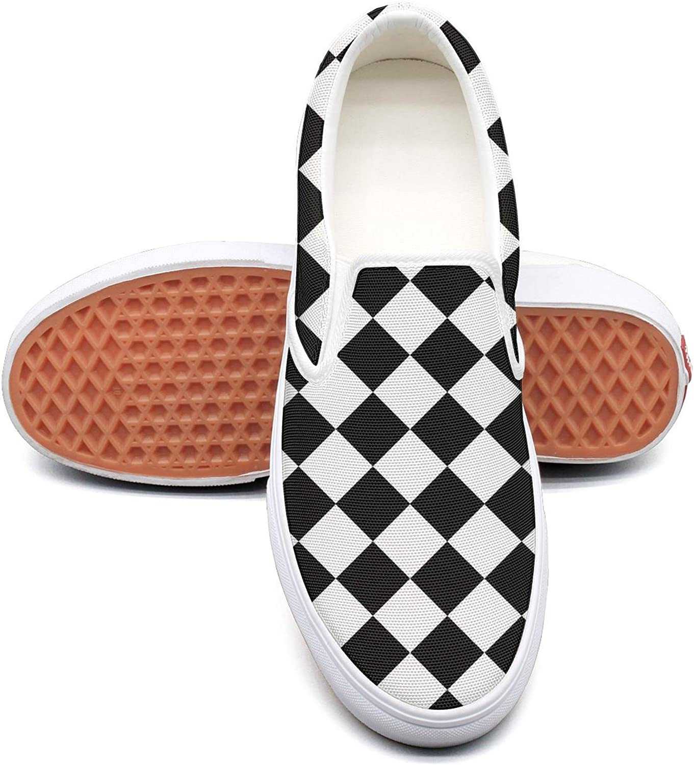 Abstract Mosaic Checkerboard Slip on Rubber Sole Sneakers Canvas shoes for Women Casual