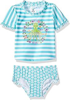 Kiko & Max Baby Girls Suit Set with Short Sleeve Rashguard Swim Shirt