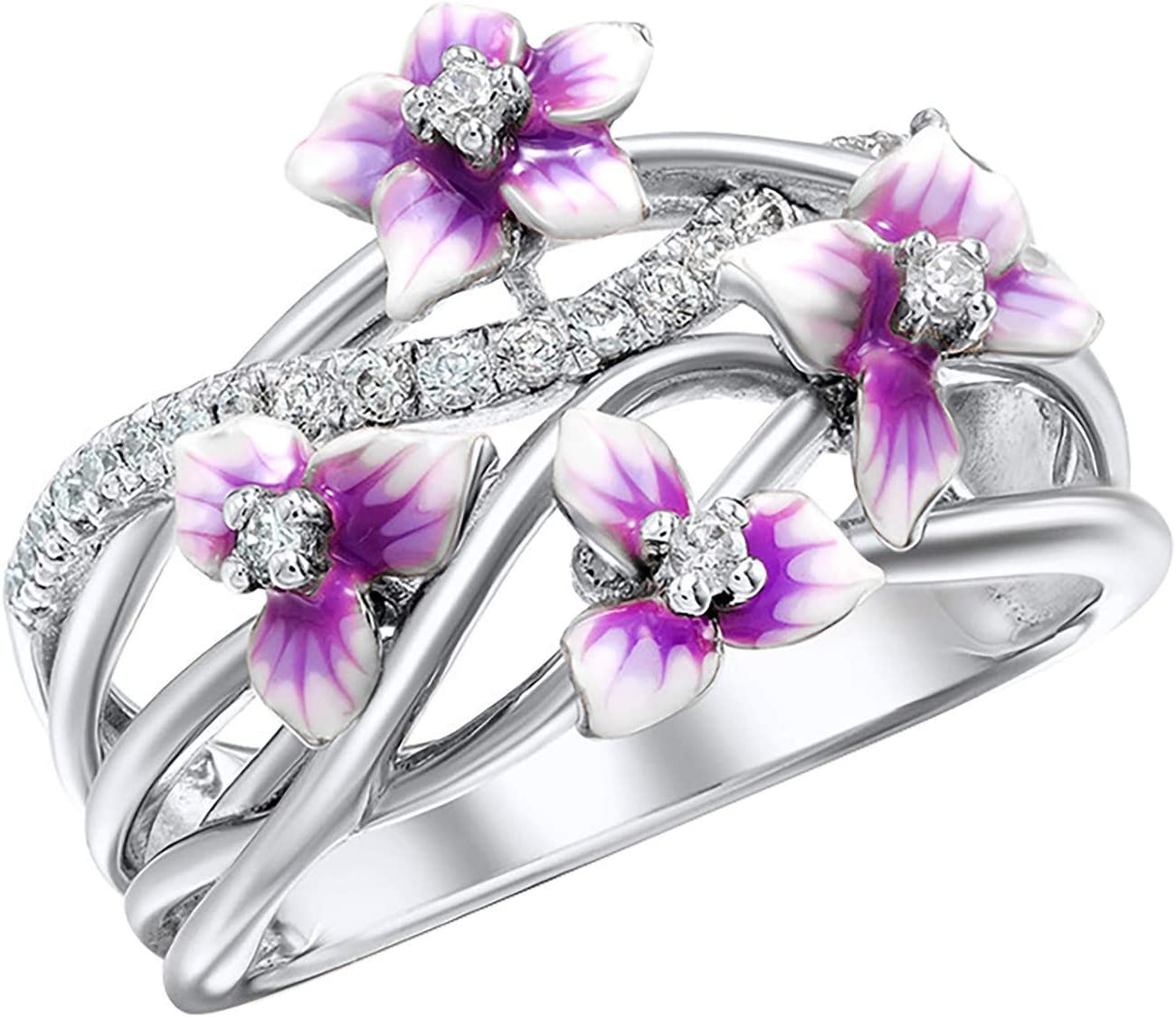 Violet Flower Personality Ring for Women Simulated Diamond Ring Crystals Rhinestone Finger Rings High Polish Resistant Comfort Fit Wedding Band Jewelry