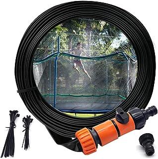Trampoline Sprinkler, Outdoor Water Park Sprinkler for Kids Summer Fun, Outside Water Toy Attached on Trampoline Safety Net Enclosure(39ft)