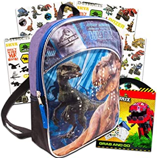 Jurassic World Dinosaur Mini Backpack Set - Deluxe 11 Jurassic World Backpack for Kids Boys Toddlers with Dinosaur Sticker...