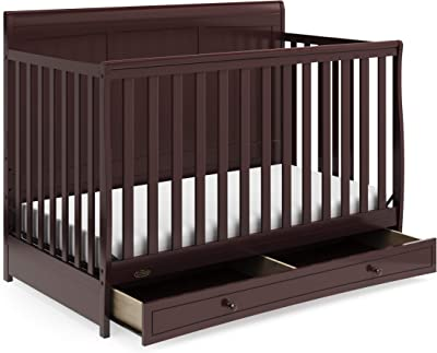 Graco Asheville 4-in-1 Convertible Crib with Drawer - Full-Size Storage Drawer, Crib Easily Converts to Daybed, Toddler Bed, and Full-Size Bed, Espresso