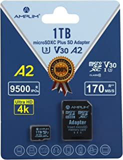 Amplim 1TB MicroSDXC A2 4K Video UHS-I U3 V30 C10, R/W 100/95 MB/s, Micro SD Memory Card with Adapter, Nintendo-Switch, Go...