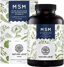 NATURE LOVE® MSM - 365 vegane Tabletten (6 Monate) - Extra hochdosiert: 2000mg MSM (Tagesdosis) - Premium: natürliches Vitamin C (Acerola) - z.B. für Gelenke*- Laborgeprüft, hergestellt in Deutschland