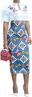 Ermonn Women African Print Knee Length Skirt Slim Fit Midi Pencil Skirt