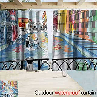 AndyTours Outdoor Waterproof Curtains,Venice Colorful Sketch of a Landscape The Bridge of Sighs in Venice Artistic Romantic Scene,Thermal Insulated Back Tab,W96x72L Inches Multicolor