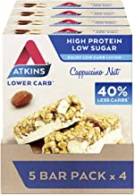Atkins High Protein Bar Keto Snack Low Carb Low Sugar Cappuccino and Nut Snack Bar 5 Bar Box x 4 20 Bars Total Estimated Price : £ 28,40