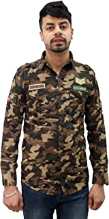 Matelco Men's Cotton Military Camouflage Shirt (AD07Sh401Gr_Green)