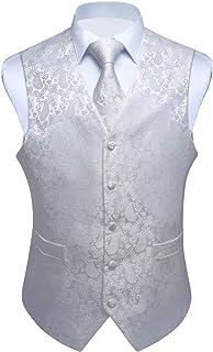 Enlision Gilet da Abito da Uomo Panciotto Paisley Floral Jacquard Cravatta Fazzoletto da Taschino Set Cerimonia Festa Eleg...