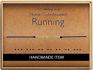 Running Morse Code Bracelet Birthday Gifts for Runner 925 Sterling Silver Handmade Bead Adjustable String 14K Real Gold Pl...